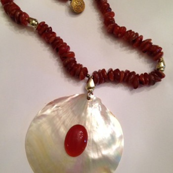 Huge Embellished Shell Pendant and Amber Like Bead Necklace What is IT?