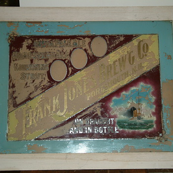 Frank Jones Brewing Company glass sign - Breweriana