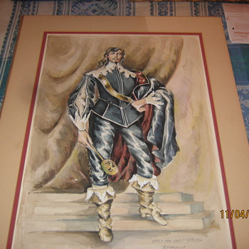 Robin Fraser Paye watercolour costume design of Brian bedford as Benedick Stratford festival 1980.