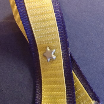 Military medal? Pin back. Purple & yellow ribbon with five-point star in center