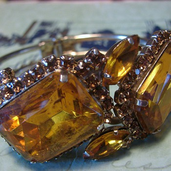 Clamper Bracelet with Topaz Colored Stones