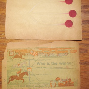 Early German Gun-Powder Horse Racing Paper Game, Saloon Betting