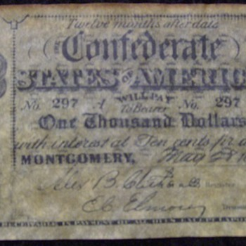 CONFEDERATE 1000 NOTE - US Paper Money
