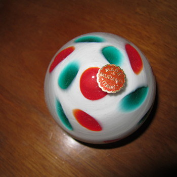 Murano glass paperweight, White, Red, and Green