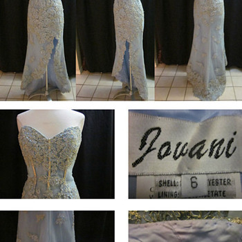Jovani beaded blue evening gown - Womens Clothing