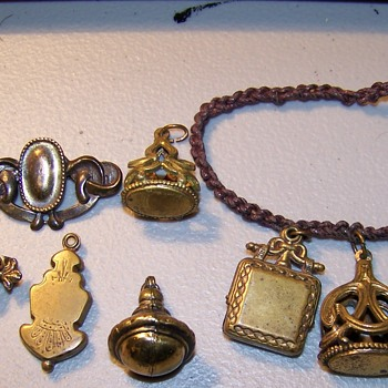antique metal charms Copper??? - Costume Jewelry