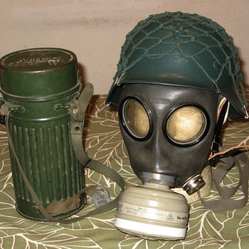 West German gas mask and helmet with storage canister  - Military and Wartime