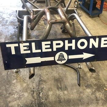 1940's porcelain double sided Telephone sign. - Signs
