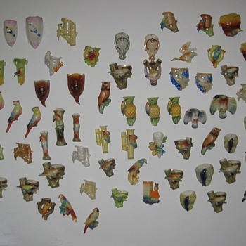 Czech bird wall pockets - Art Pottery