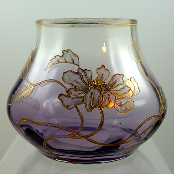 Harrach (attrib) Art Nouveau Enameled Glass Vase, Purple shaded to clear, ca. 1905 - Art Glass