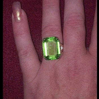 Monet Emerald Cocktail Ring - Costume Jewelry