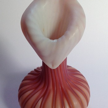 Victorian cased ribbed pink satin glass jack in the pulpit vase - Art Glass