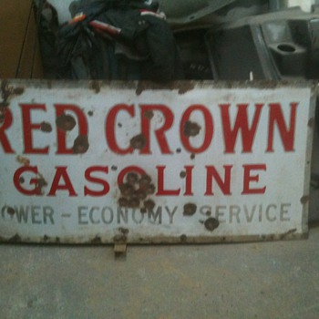 Red Crown Gasoline sign - Signs