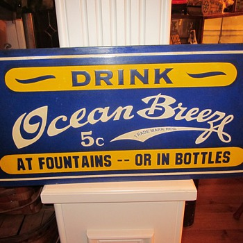 Ocean Breeze Porcelain Soda Sign - Advertising