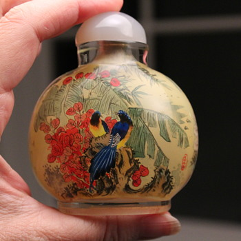 Pair of Peacocks Reverse Painted Snuff Bottle