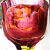 Redwine Goblet with Equestrian in Landscape Bohemia 19Cent