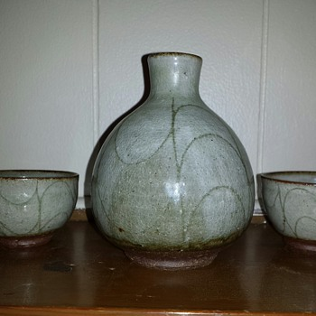 "Sake Set ""Another Mystery Mark"" - Art Pottery"