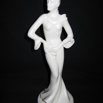 Erphila Czechoslovakia porcelain art deco female figure statue - Art Pottery