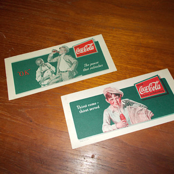 Early Coca-Cola ink blotters or mini cardboard displays?