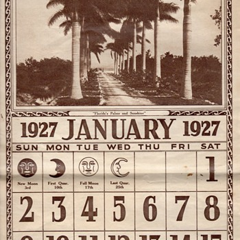 FLORIDA PALMS AND SUNSHINE 1927 CALENDAR - Paper