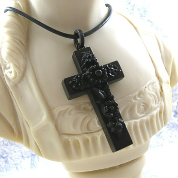 Ornate Victorian Jet Black Mourning Cross Vulcanite Jewelry  - Fine Jewelry