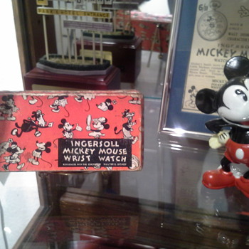 1934 English Ingersoll Mickey Mouse black label box - Wristwatches