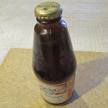 1985 bud bottle with beer and Michelob cap - Breweriana