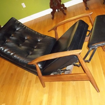 Mid Century Danish Black Leather Recliner - Furniture