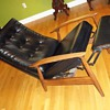 Mid Century Danish Black Leather Recliner