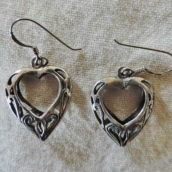 Sterling silver heart earrings hallmarked Art nouveau