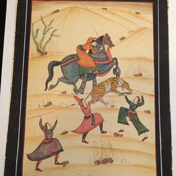 Oil on Silk?  Mughal Dynasty Painting - India - 1800-1900??