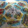 Vintage 100% Rayon Scarf Depicting Evolution Of Trolley (Cable ) Car In San Fran.