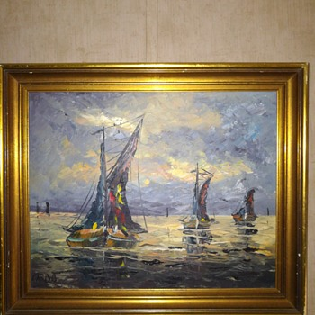 Oil painting of boats - Visual Art