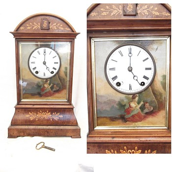 Rare & Magnificent Johann Baptiste Beha table cuckoo clock.   1864 tin plate.  Hand painted by Carl Hiene - Clocks