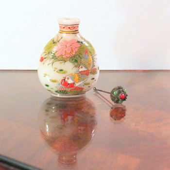 Snuff Bottle with Cannetille Flowers, Jade & Coral Top - Asian