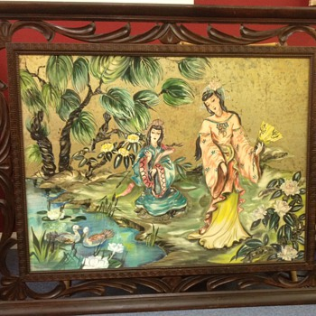 "NEED help to IDENTIFY this Picture 30""x40"" Frame original to pic.. - Asian"