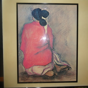 R.C. Gorman woman kneeling