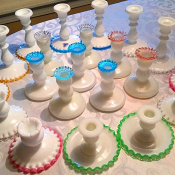My vintage Fenton Crest candlestick collection