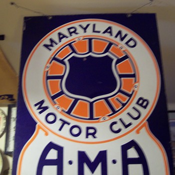 MARYLAND MOTOR CLUB AMA SIGN - Signs