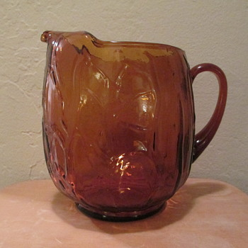 Pattern Glass Amber Pitcher (tree bark pattern)
