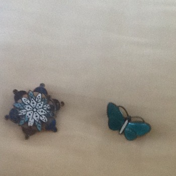Two Enamel Brooches