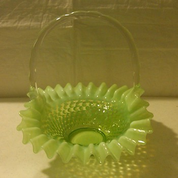 RARE EARLY FENTON GREEN OPALESCENT HOBNAIL BASKET [1940&#039;s]