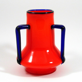 Loetz Tango Orange vase with applied cobalt handles