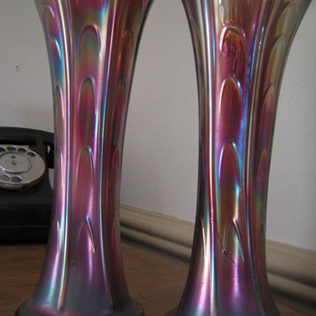 can anyone tell me more about these carnival glass vases? - Glassware