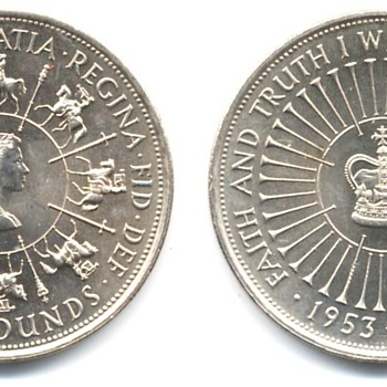 British Five Pound coins