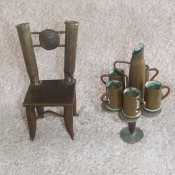 Trench art dollhouse furniture WW1 era