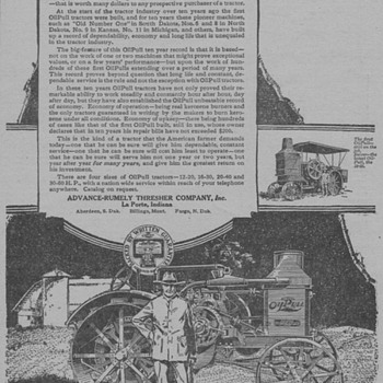1919 Advance-Rumely Advertisement - Advertising