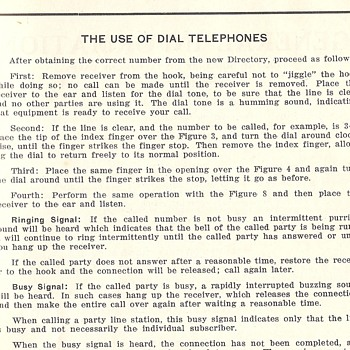 1934 Phone Directory~How to use a rotary dial phone~Good Luck!