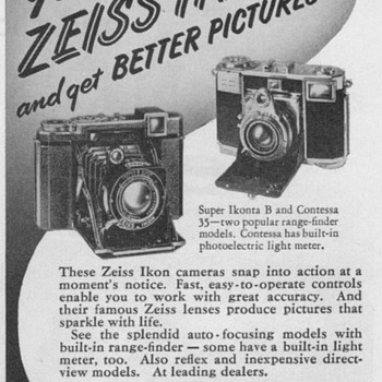 1952 - Zeiss Ikon Cameras Advertisement