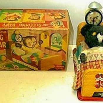 Vintage Battery Operated Sleeping Baby Bear Toy - Toys
